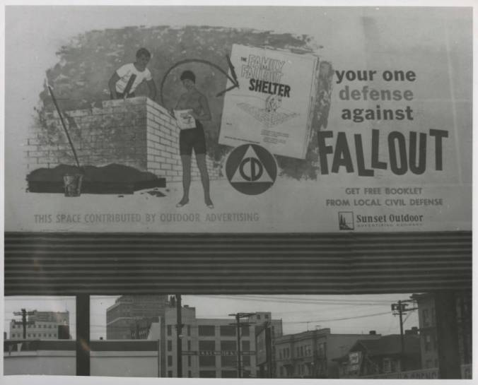 Family fallout shelter billboard, December 1959. Photo: Werner Lenggenhager via Seattle Public Library